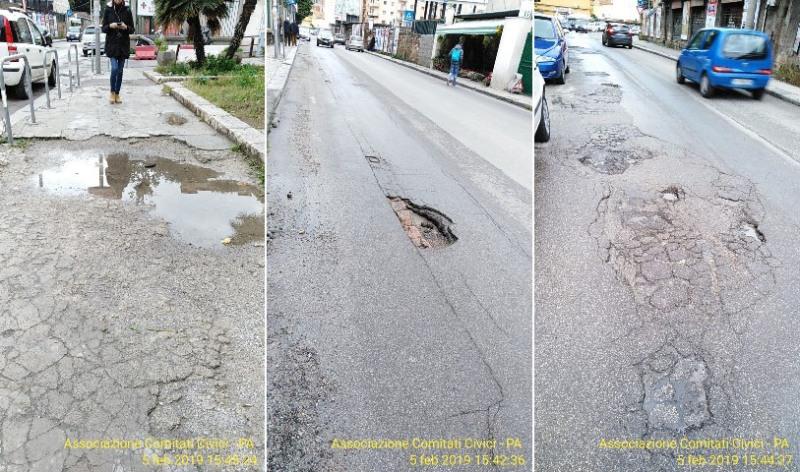 Via del Vespro, strada e marciapiedi disastrati